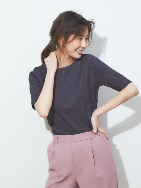 ecru 【汗染み防止】テレコボートネックTシャツ