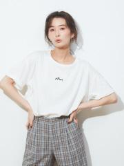 abahouse mavie - ecru ビッグサイズロゴTシャツ