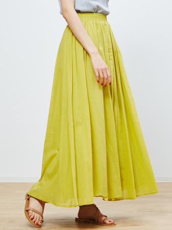 abahouse mavie - ecru コットンシフォンギャザーマキシスカート