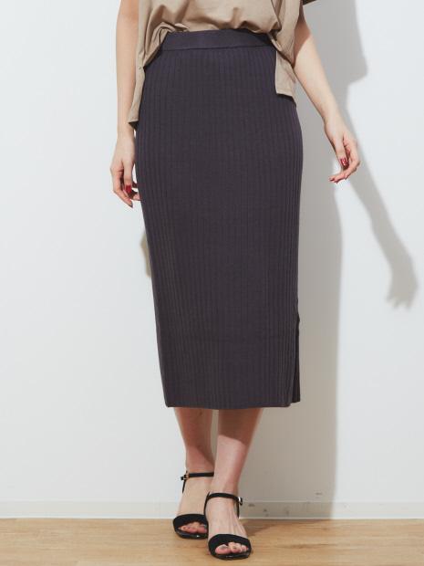 ストレッチワイドリブニットスカート