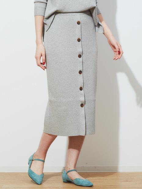 ecru フロントボタンリブニットスカート