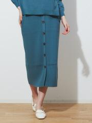 abahouse mavie - ecru フロントボタンリブニットスカート
