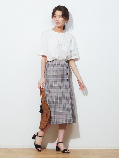ecru ラップ風チェックタイトスカート