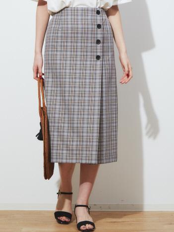 abahouse mavie - ecru ラップ風チェックタイトスカート