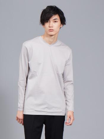 ABAHOUSE - 【展開店舗限定】シルケット天竺Vネック ロングTシャツ(ソリッドカラーシリーズ)