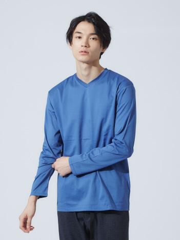 ABAHOUSE - 【展開店舗限定】シルケット天竺VネックロングTシャツ(ブルーカラー)