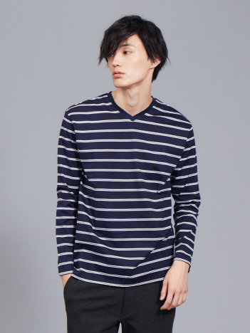 ABAHOUSE - 【展開店舗限定】シルケット天竺Vネックボーダー ロングTシャツ