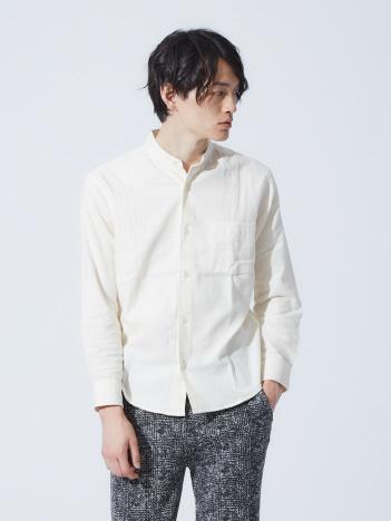 【展開店舗限定】バンドカラー起毛シャツ