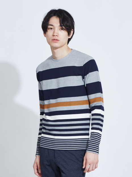 【展開店舗限定】リップルボーダー ロングTシャツ