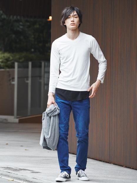 【展開店舗限定】杢スラブVネックロングTシャツ