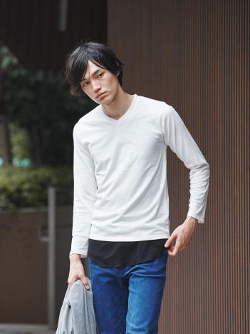 ABAHOUSE - 【展開店舗限定】杢スラブVネックロングTシャツ