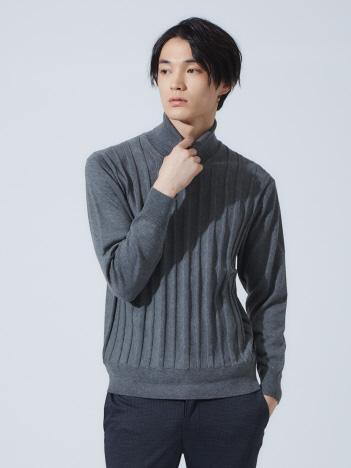 【展開店舗限定】リンクス ストライプ タートルネック ニット