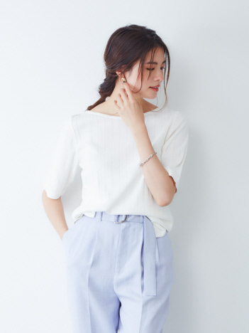 abahouse mavie - ecru【汗染み防止】テレコボートネックTシャツ