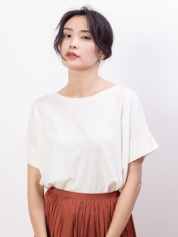 ecru【汗染み防止】クルーネックワイドTシャツ