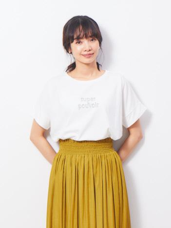 abahouse mavie - ecru ワイドロゴTシャツ