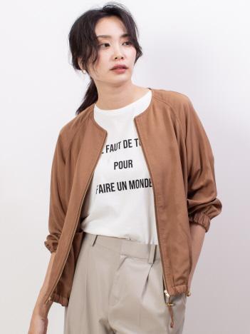 abahouse mavie - ecru ノーカラーブルゾン