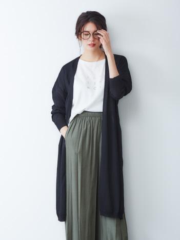 ecru【UVカット加工】ベルト付ロングカーディガン