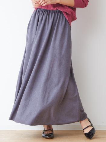 abahouse mavie - ecru スエードギャザーマキシスカート