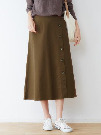 OUTLET (Ladie's) - ecru サイドボタンフレアスカート