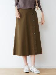ecru サイドボタンフレアスカート