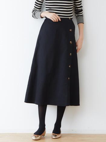 abahouse mavie - ecru サイドボタンフレアスカート