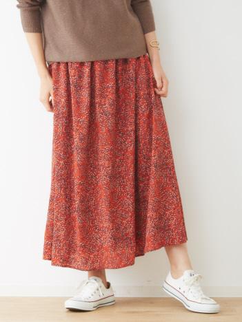 abahouse mavie - ecru プリントギャザースカート