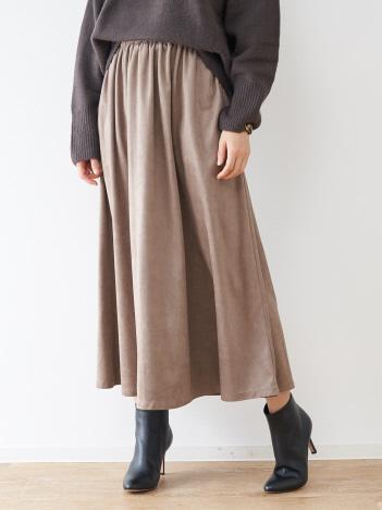 abahouse mavie - ecru フェイクスエードギャザーマキシスカート