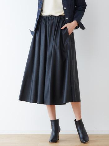 abahouse mavie - ecru 合皮ギャザースカート