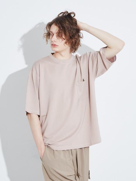 【MYSELF ABAHOUSE】スラブポンチ ビッグシルエット 6分袖Tシャツ