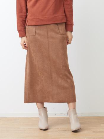 スエードタイトロングスカート