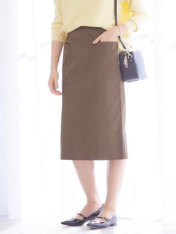 サテンストレッチベイカースカート