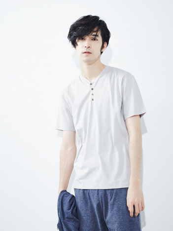 【展開店舗限定】シルケット天竺ヘンリーネック半袖Tシャツ