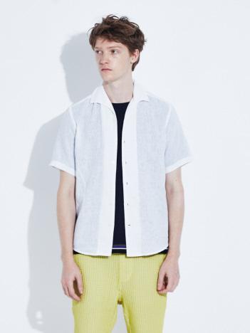 ABAHOUSE - 【展開店舗限定】リネン イタリアンカラー 7分袖 シャツ