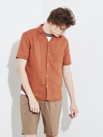 【展開店舗限定】リネン襟付キーネック半袖シャツ