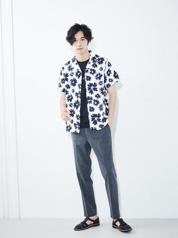 【展開店舗限定】Flowerオープンカラー半袖シャツ