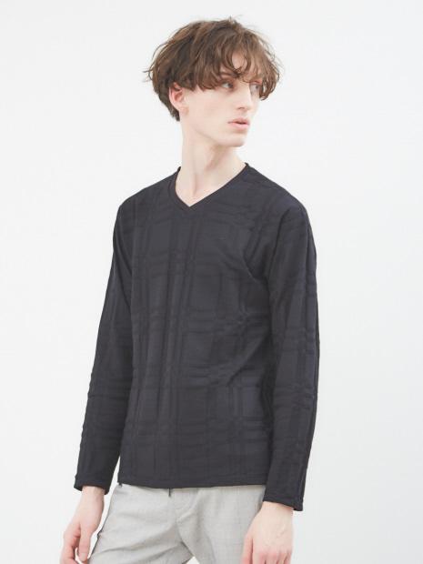【展開店舗限定】チェック ジャガード Vネック 長袖 Tシャツ
