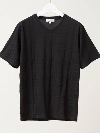 ABAHOUSE - 【展開店舗限定】チェック ジャガード Vネック 半袖 Tシャツ