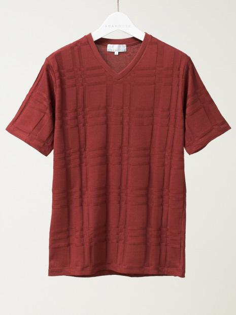 【展開店舗限定】チェック ジャガード Vネック 半袖 Tシャツ