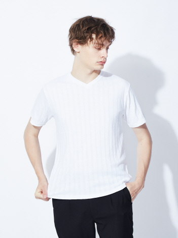 ABAHOUSE GRAY - 【展開店舗限定】汗ジミ防止/ワイドリブVネック 半袖Tシャツ