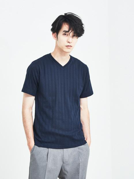 【展開店舗限定】汗ジミ防止/ワイドリブVネック 半袖Tシャツ