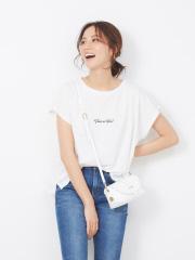 ecru 刺繍ロゴゆるTシャツ