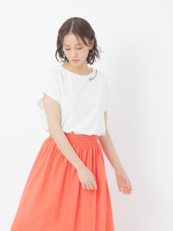 abahouse mavie - ecru 刺繍ロゴゆるTシャツ