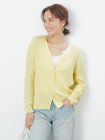 【UVカット加工】ecru ワイドリブカーディガン