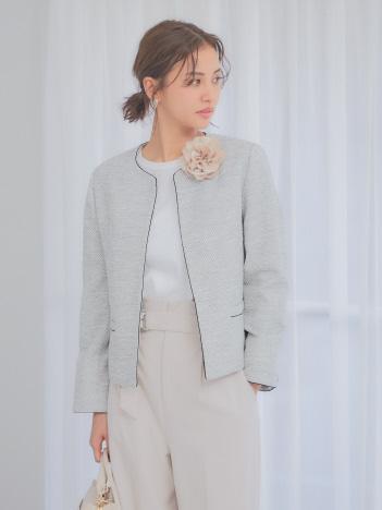 abahouse mavie - ecru 綾織りツイードジャケット