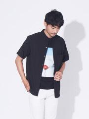 【Quick Dry】バンドカラー 半袖 シャツ