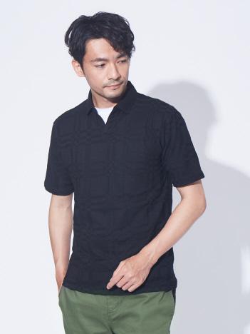 ABAHOUSE GRAY - 【展開店舗限定】ランダムボーダー ジャガード ポロシャツ