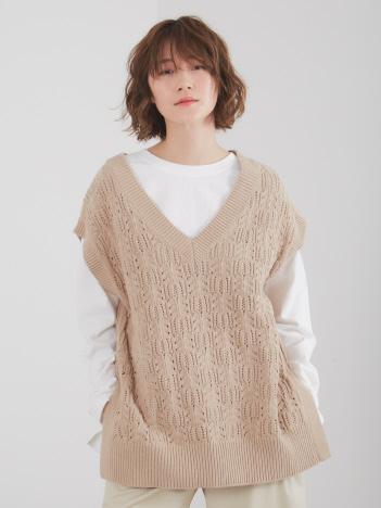 abahouse mavie - ecru 透かし編みベストロンTセット