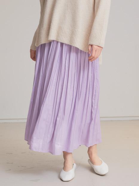 【一部WEB先行カラー】ecru レザーライクサテンプリーツスカート