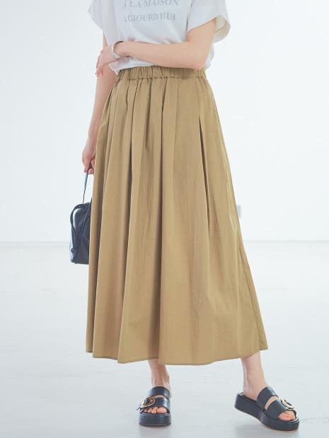 【ベージュ、ブラックWEB限定カラー】タックギャザースカート