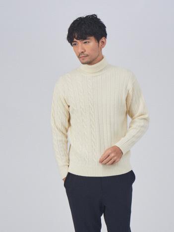 ABAHOUSE GRAY - 編地 切替 タートル ニット【予約】